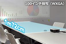 100インチを「1m72cm」で投写